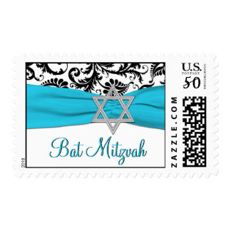 Blue, White, and Black Damask Bat Mitzvah Postage