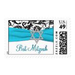 Blue, White, and Black Damask Bat Mitzvah Postage