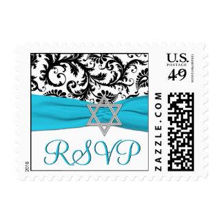 Blue, White, and Black Damask Bat Mitzvah RSVP Postage