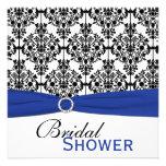 Blue, White, and Black Damask Bridal Shower Invite
