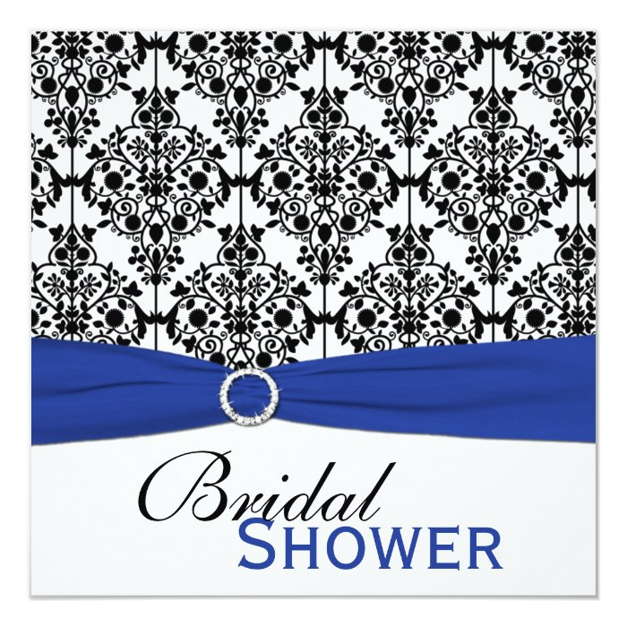 Blue white and black damask bridal shower invite zazzle