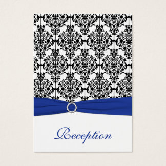 Blue, White and Black Damask Enclosure Card