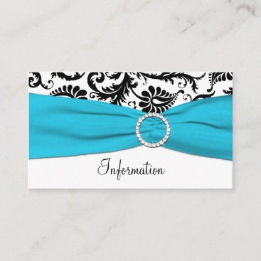 Blue, White, and Black Damask Enclosure Card
