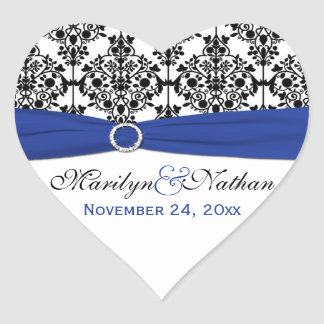 Blue White and Black Damask Heart Shape Sticker