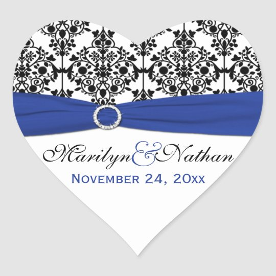 Blue, White, and Black Damask Heart Shape Sticker