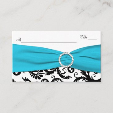 Blue, White and Black Damask Place Card