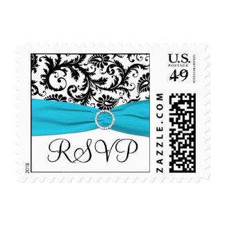 Blue, White, and Black Damask RSVP Postage