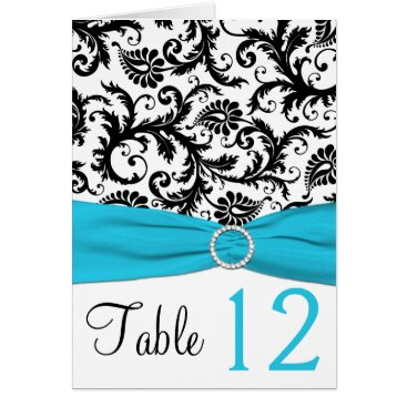 Blue, White, and Black Damask Table Number Card