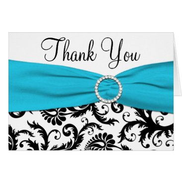 Blue, White, and Black Damask Thank You Note Card