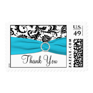 Blue, White, and Black Damask Thank You Postage
