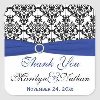 Blue White and Black Damask Thank You Sticker