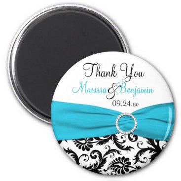 Blue, White, and Black Damask Wedding Favor Magnet