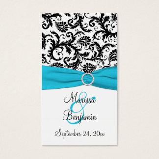 Blue, White, and Black Damask Wedding Favor Tag