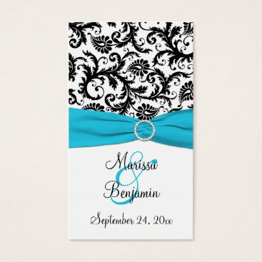 Blue, White, and Black Damask Wedding Favor Tag