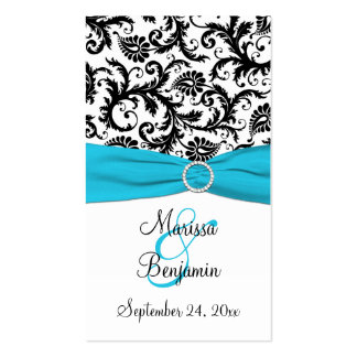 Blue, White, and Black Damask Wedding Favor Tag Double-Sided Standard Business Cards (Pack Of 100)
