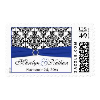 Blue, White, and Black Damask Wedding Postage