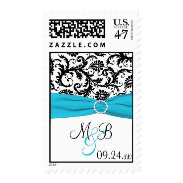Blue, White, and Black Damask Wedding Postage