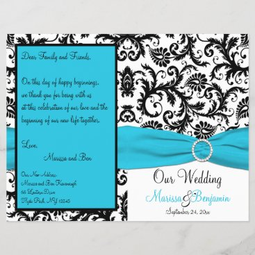 Blue, White, and Black Damask Wedding Program