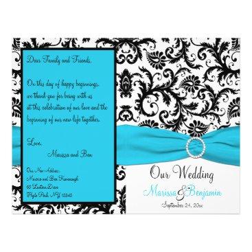 Blue, White, and Black Damask Wedding Program