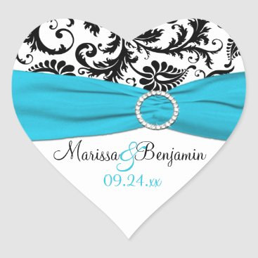 Blue, White, and Black Damask Wedding Sticker