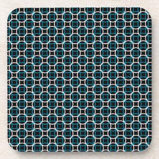 Blue White and  Black Modern Circle Pattern Drink Coaster