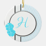 Blue, white and black moroccan hibiscus Initial Ornament
