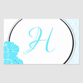 Blue, white and black moroccan hibiscus Initial Rectangular Sticker