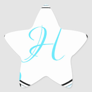 Blue, white and black moroccan hibiscus Initial Star Sticker