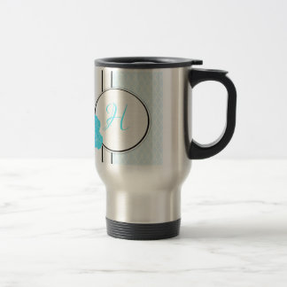 Blue, white and black moroccan hibiscus Initial Travel Mug