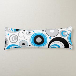 Blue White And Black Random Circles Pattern Body Pillow