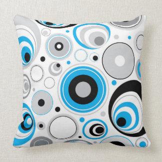 Blue White And Black Random Circles Pattern Pillow