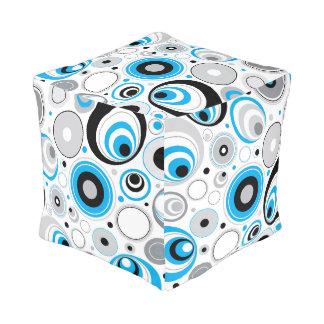 Blue White And Black Random Circles Pattern Pouf