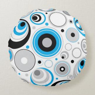 Blue White And Black Random Circles Pattern Round Pillow