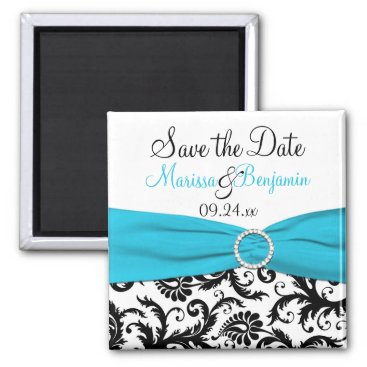 Blue, White, and Black Save the Date Magnet
