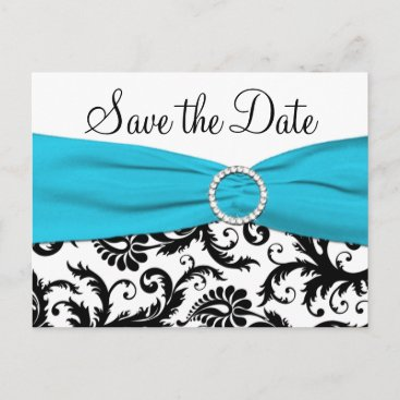 Blue, White, and Black Save the Date Postcard