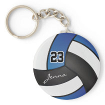 Blue, White and Black Volleyball - Customize Keychain