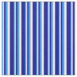 [ Thumbnail: Blue, White, and Dark Blue Colored Lined Pattern Fabric ]