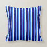 [ Thumbnail: Blue, White, and Dark Blue Colored Lined Pattern Throw Pillow ]