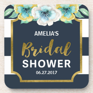 Blue White and Faux Gold Floral Bridal Shower Beverage Coaster