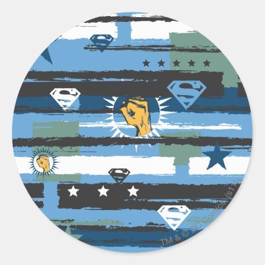 Blue, White and Fist Classic Round Sticker