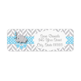 Blue, White and Gray Elephant Baby Shower Label