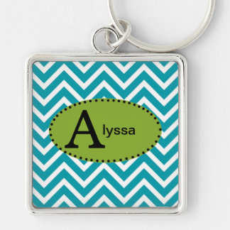 Blue White and Green Chevron Personalized Keychain