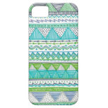 Blue, White, and Green Drawn Tribal Print iPhone 5 Cover