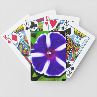 Blue White and Purple Morning Glory Bicycle Poker Deck