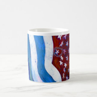Blue, White and Red Coffee Mug