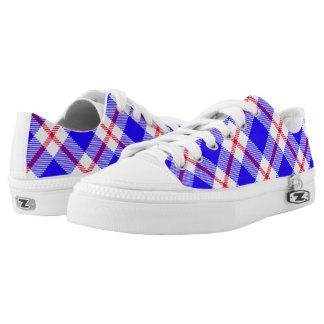 Blue, White and Red Tartan Bright Colors Low-Top Sneakers