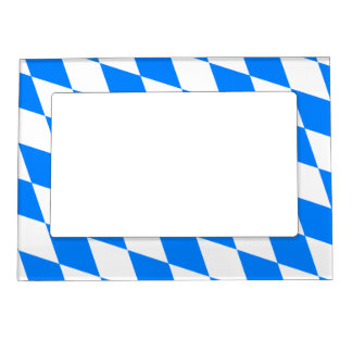 Blue & White Argyle Pattern Magnetic Picture Frame