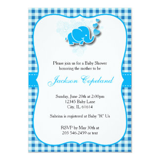 Blue & White Baby Elephant for a Baby Shower Card