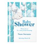 Blue white baby shower boys custom invitations