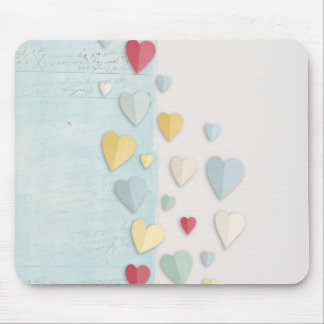 Blue white Background Folded Hearts Mouse Pad